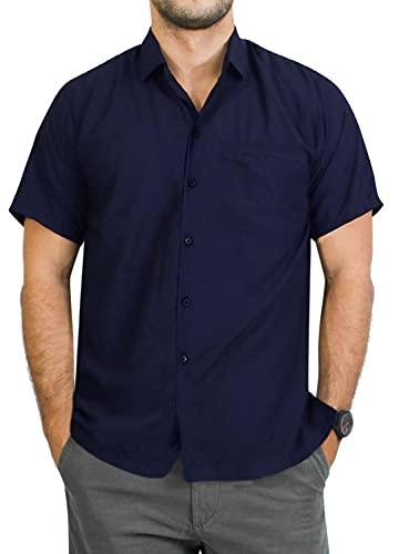 HAPPY BAY Men's Solid Plain Button Down Short Sleeve Hawaiian Shirt 5XL Navy Blue_AA210