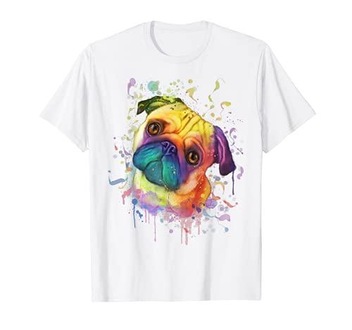 スプラッシュアート パグ かわいい モップ 犬好き ギフト 男性 女性 犬の飼い主 Tシャツ