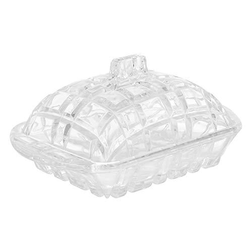 Cabilock Plato de Mantequilla de Cristal con Tapa Plato de Mantequilla Rectangular Cubierto de Cristal Caja de Almacenamiento de Mantequilla Plato de Postre de Pan Recipiente de Comida
