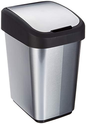 Home&Decorations HD Youngsun geruchssicherer Mülleimer Abfallbehälter Papierkorb in Edelstahloptik/schwarz aus Kunststoff (PP) 14L-28.5 x 23 x 39 cm
