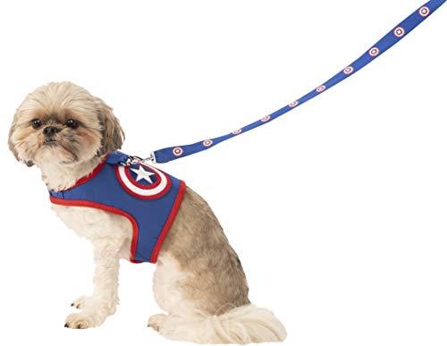 Marvel Classic Universe Captain America Hundeleine und Geschirr für Haustiere, Größe L