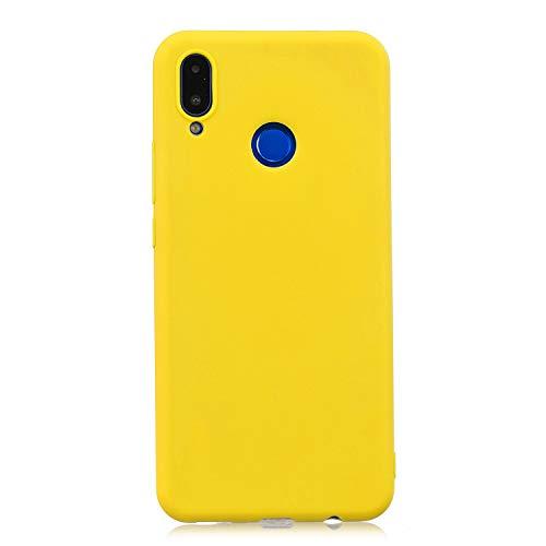 cuzz Custodia Huawei Nova 3i / P Smart Plus+{Film di Vetro temperato}Silicone TPU Cover Morbida Protettiva Custodia Ultra Sottile Leggero Cover-Giallo