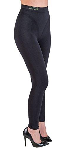 CzSalus Figurformende Anti-Cellulite Lange Hose (Leggings) mit Aloe+grüner Tee - schwarz Größe S