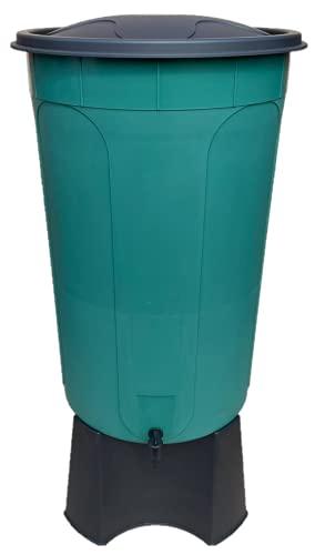 Keto Plastics 210L GREEN WATERBUTT, WATER BUTT COMPLETE WITH BLACK STAND, TAP & LID