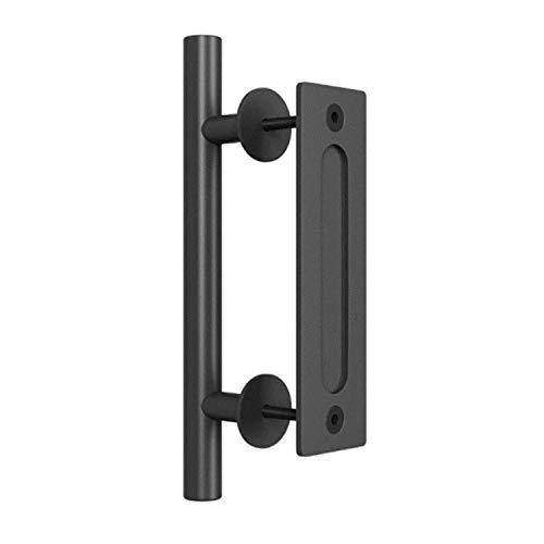 1 Uds puerta de granero negro puerta corredera de doble cara puerta corredera redonda de cristal oscuro mano moderna minimalista manija de la puerta del gabinete