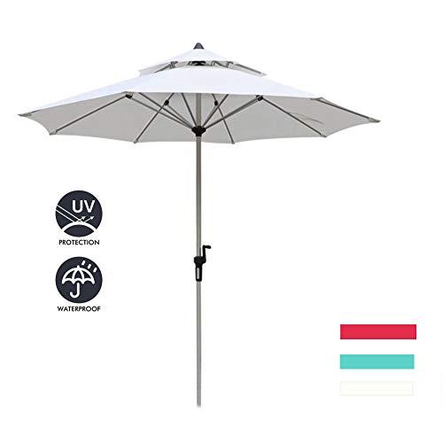 Dubbellaags winddichte tuinparasol, voor buitentuin en terras Vrijstaande parasol Zon, zonder voet,White