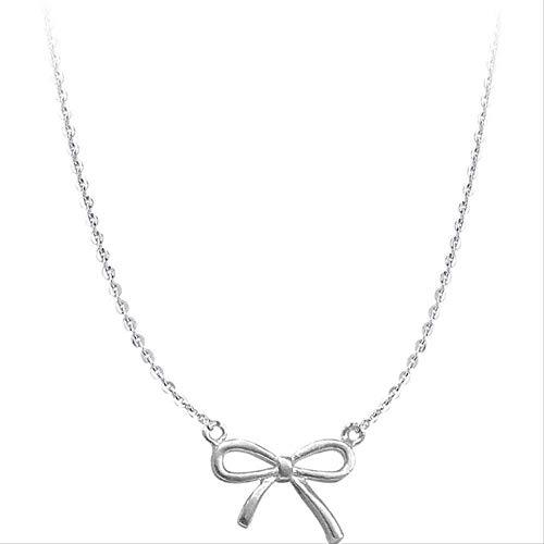 ZHIFUBA Co.,Ltd Collar Mujer Collar recién Afeitado Sweet Girls Bow Style Mini Colgante Moda Collar de Plata Cumpleaños Regalo romántico Chicas