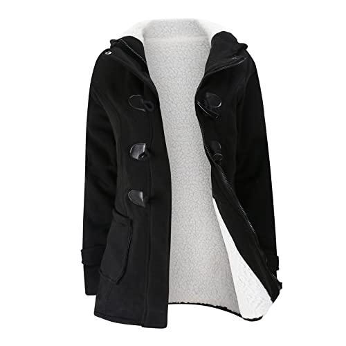 Chaqueta de invierno de algodón, gruesa, cálida, para mujer, monocolor, con capucha, acolchada, chaqueta de invierno con capucha, longitud media, holgada, para exterior, moda, Negro , XXXXL