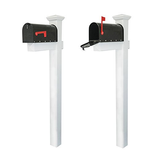 "Houseables Mailbox Post Kit System, Mail Box Included, Combo White & Black, 72"" x 4"", Vinyl PVC Plastic Post & Mounting Arm, Aluminum Mailboxes, Steel Anchor, Rust Proof, For Home, Residence, Curbside"