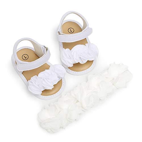 MAHUAOYIXI Completi 2 Pezzi Sandali Morbido Neonate + Fascia Fiore Scarpine Bimba Antiscivolo Elegante Scarpe Estive Prima Infanzia Comodo da 0-18 Mesi (Bianco, 12-18M)
