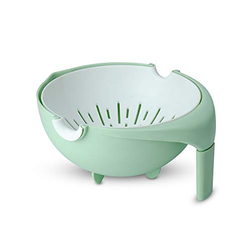 Mousyee Drain Basket, Colander Plastic with Handle, Plastic Washing Vegetables Basket, Double Layered Drain Basin Design, Detachable Fruits Colanders, Use for Drainage and Storage (Green)