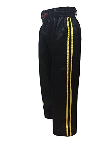 V.Sports Kickboksen Satijn Broek Training Broek Zwart met 2 gele strepen Kinderen/volwassenen