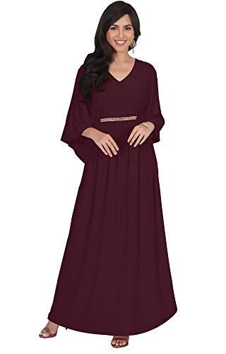 KOH KOH Plus Size Womens Long V-Neck Half Batwing Dolman Sleeve Evening Cocktail Flowy Empire Waist Bridesmaid Formal Kaftan Wedding Guest Gown Gowns Maxi Dress Dresses, Maroon Wine Red XL 14-16