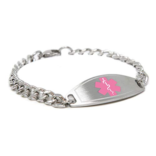 Pre-Engraved & Customized Dementia Medical Bracelet, Wallet Card Incld, Pink