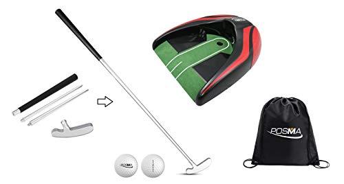 POSMA GCP02B 4 Sections Portable Best Two-Way Putter Auto Return Putt Cup Kit Set - Left Right Hand - 2 -Piece Tour Golf Balls - 1 Golf Carry Bag