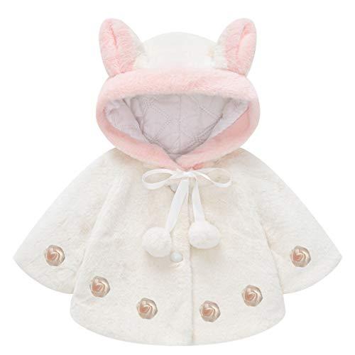 Little Girls Winter Cute Rabit Ears Hooded Coat Plush Woolen Padded Warm Shawl Cloak 1-5 Years