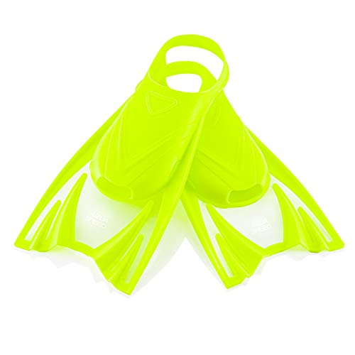 Aqua Speed leichte Kurzflossen Kinder I Kurze Trainingsflossen   weiche Schwimmflossen für Mädchen Jungen I Taucherflossen kurz   Flossen Schwimmtraining   Gelb, Gr. 30-34 (M) I Frog