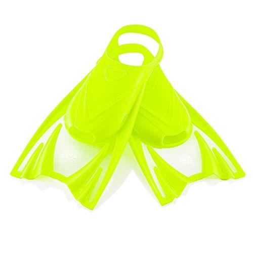 Aqua Speed leichte Kurzflossen Kinder I Kurze Trainingsflossen | weiche Schwimmflossen für Mädchen Jungen I Taucherflossen kurz | Flossen Schwimmtraining | Gelb, Gr. 30-34 (M) I Frog