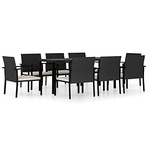 tavolo da giardino grigio Tidyard Set 7/9 pz da Pranzo da Giardino in Polyrattan Nero/Grigio