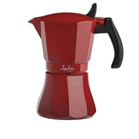 Jata Hogar HCAF2012 - Cafetera de aluminio de 12 tazas. Apta para todas las cocinas, incluida inducción. Asa maciza especial anti-quemados