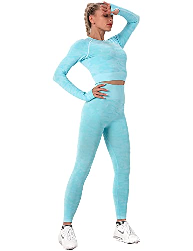 qqff Yoga Running Fitness Gran Elásticos,Women's Two-Piece Gym Suit,Archery Sportswear-Blue_M,Medias de Rugby