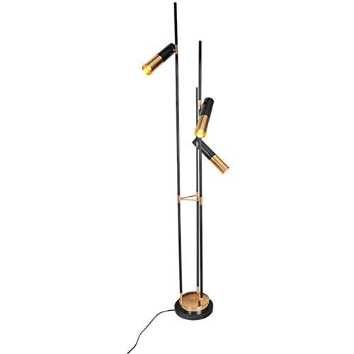CLJ-LJ Lámpara de pie postmoderna simple 3 puntos negros Color oro chapado en hierro forjado base redonda grande lámpara de pie 1,9 m con interruptor de pedal para salón dormitorio Uffic