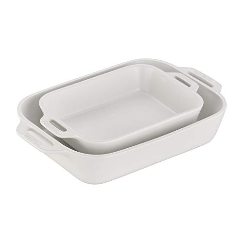 STAUB Ceramics Rectangular Baking Dish Set, 2-piece, Matte White