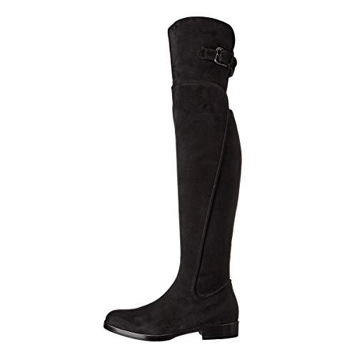 YOWAX Atractivo de los Cargadores Zapatos de tacón bajo guapos Delgados Remaches Hebillas lo Largo de los Cargadores de la rodilla-EU45