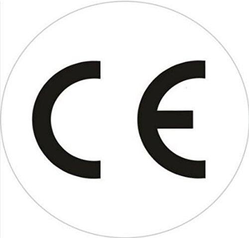 KesCom 100 x sticker rond 1 cm 10 mm diameter zwart op wit CE-teken