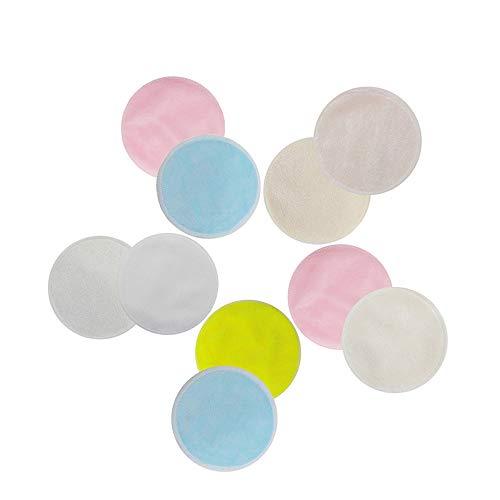 YCX 20 Discos absorbentes Lavables, Protectores de Lactancia Maquillaje Cojines de Lactancia de bambú orgánicos Dos Capas removedor de algodón de Fibra de bambú Lavable,Natural
