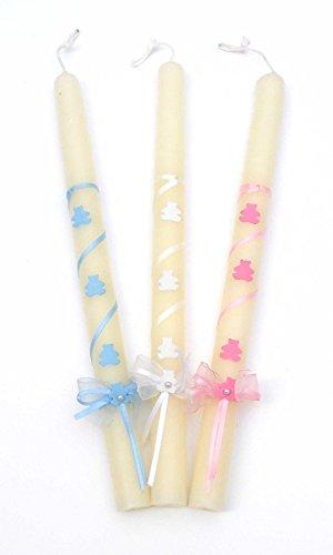 Vela de Bautizo-Cochecitos- de 32 cm de Color Blanco Decorada con una Cinta Blanca en Espiral, un Lazo, Dos Perlas Blancas y cochecitos,Que Pueden ser en Color Azul, Rosa o Blanco. (Rosa)