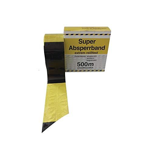 JeCo Absperrband - Warnband - Gefahrenband - Signalband gelb/schwarz, Länge 500 m/Breite 8 cm/extrem reißfest, umweltfreundlich