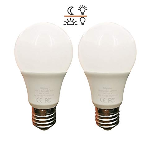 2 Pack Dusk to Dawn 5W LED Light Bulb 40 Watt Equivalent Soft White 3000K Light Sensor Bulb Sensor Light Security Bulb with Photosensor Detection E26(5W-Warm/Soft White)