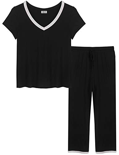 Joyaria Womens V Neck Summer Bamboo Button Down/Up Pajama/Pj/Sleep Sets Sleepwear(Black,XXL)