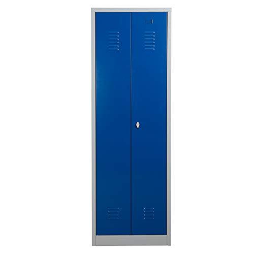 Certeo Putzmittelschrank | HxBxT 180 x 60 x 50 cm | Vorhängeschloss | Grau-Blau | Putzmittelspind Spind Umkleideschrank Umkleidespind Umkleide