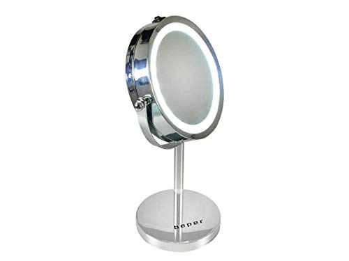 Miroir cosmétique rond à LED - Rotation à 360 ° - Grossissement x 5 - Diamètre : 15 cm - Avec éclairage LED