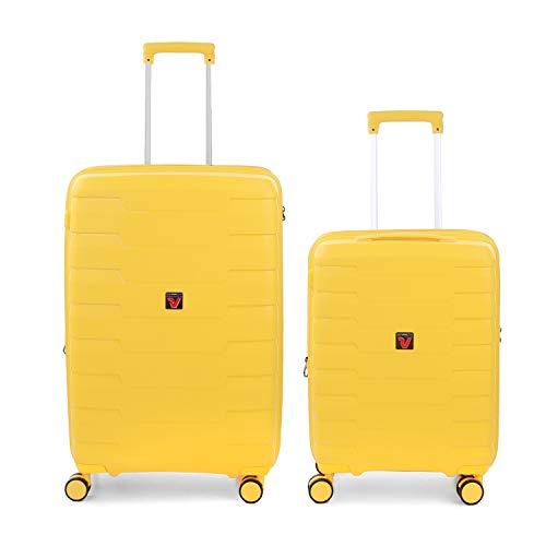 RONCATO Skyline - Juego de 2 maletas rígidas ampliables (medio + cabina) Limón