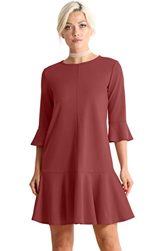 Womens Cocktail Short and 3/4 Sleeve Ruffle Hem Elegant Shift Dress for Women (Size Small, Marsala)