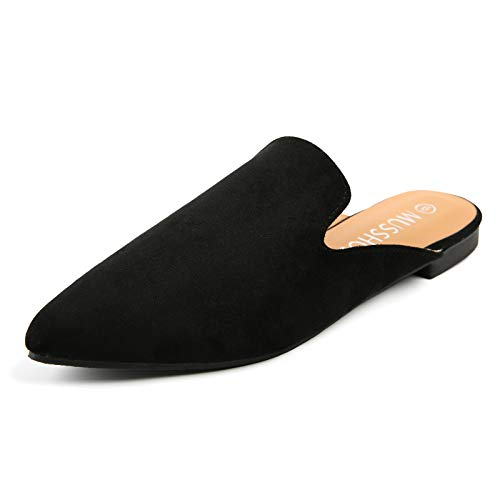 MUSSHOE Mules for Women Slip On Comfortable Pointed Toe Womens Loafers Women#039s Flats for Women#039s Mules amp ClogsBlack Suede 8