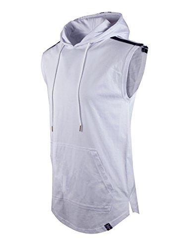 SCREENSHOTBRAND-S11809 Mens Hip Hop Longline Premium Tee – Pullover Short Sleeve Fashion Hooded Shirt High-Low Logo Print-Whte-Large