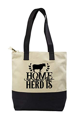 Hippowarehouse Home is Where the Herd is Premium reusable eco friendly 100% cotton tote shopper bag for life 43cm x 33cm x 17cm