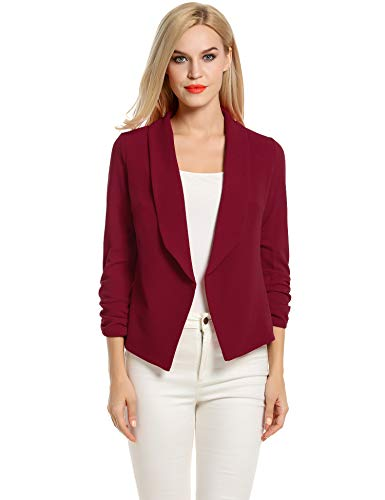 POGT Womens Blazers for Work Casual 3/4 Sleeve Jacket Open Front Cardigan Blazer (S, Wine Red)