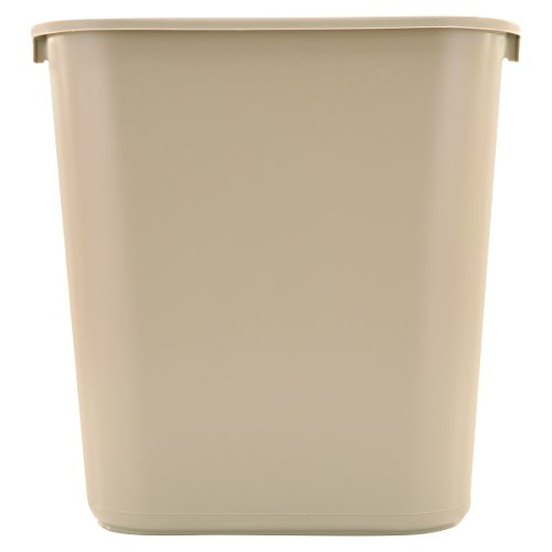 Rubbermaid Commercial Products Small Kitchen Bathroom Office Trash Can, Under Sink Waste Basket, Plastic Beige 7 Gallons