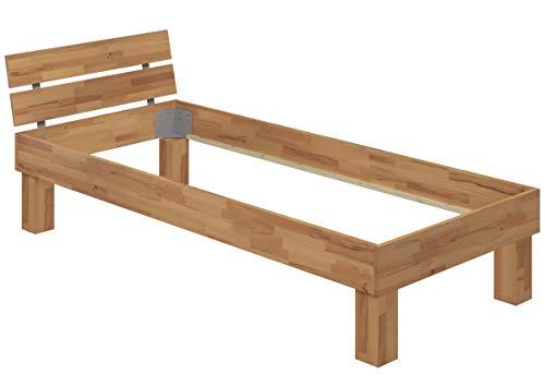 Erst-Holz® Einzelbett Buche 100x200 hohes Massivholzbett Seniorenbett 60.81-10 oR