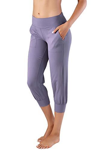 Splendor flying Women's Yoga Capri Legging Inner Pocket Non See-Through Fabric Leggings (S, SFV078 Lavender Purple)