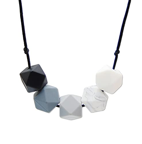 Monochrome Silicone Teething Necklace for Breastfeeding and Baby Wearing Nursing Jewellery BPA Free Hexagon Bead Black and White