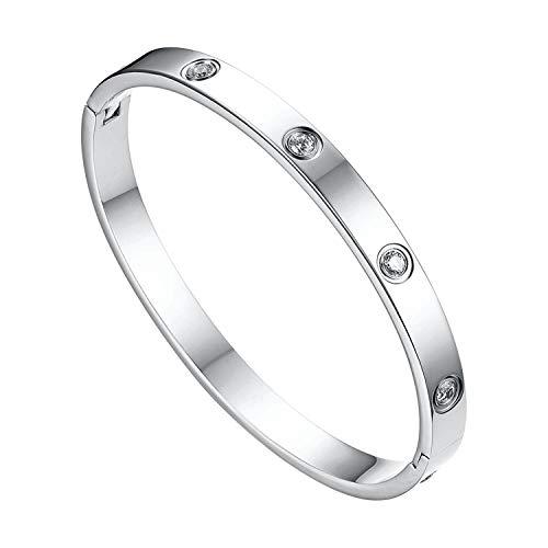JewelryWe Schmuck Damen Armreif Edelstahl Zirkonia einfache Stil Liebe Armband 6mm breit mit Schließe Armspange Gravur Silber