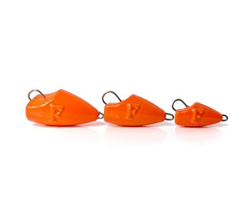 FANATIK Cheburashka Fischkopf Jig Jigkopf Bleikopf Wechselblei Gewicht Angelnblei Bleikopf Zander Grundblei Bleie Angelset Bleikugel für Gummifische 3g - 50g (16 Gramm - 5 Stück, Orange - 023)