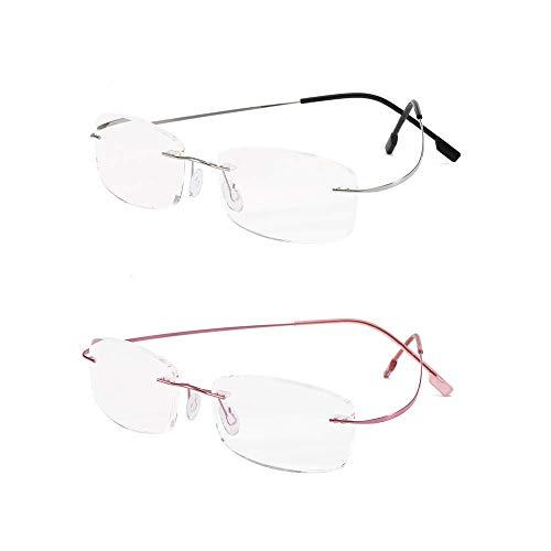 Randloze leesbril super licht titanium leeshulp voor dames en heren +1.0 zilver, roze