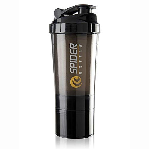Rocketkart Gym Spider Shaker Bottle 500ml with Extra Compartment, 100% Leakproof, Ideal for Protein, Preworkout, BCAAs, Cycling, Gym Water Bottle | Shaker Cup, Diet Shaker with Blenderball [Black]